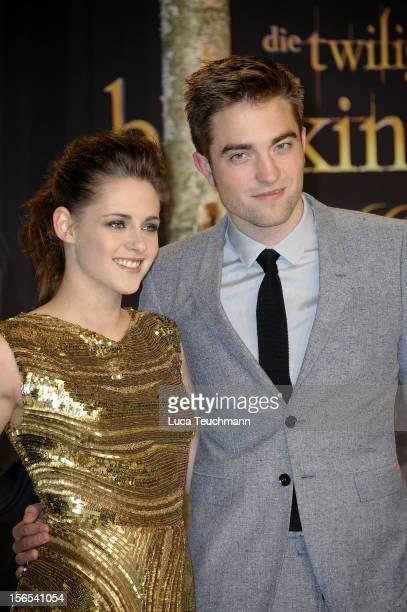 Kristen Stewart and Robert Pattinson attend the 'Twilight Saga Breaking Dawn Part 2' Germany Premiere at CineStar on November 16 2012 in Berlin...