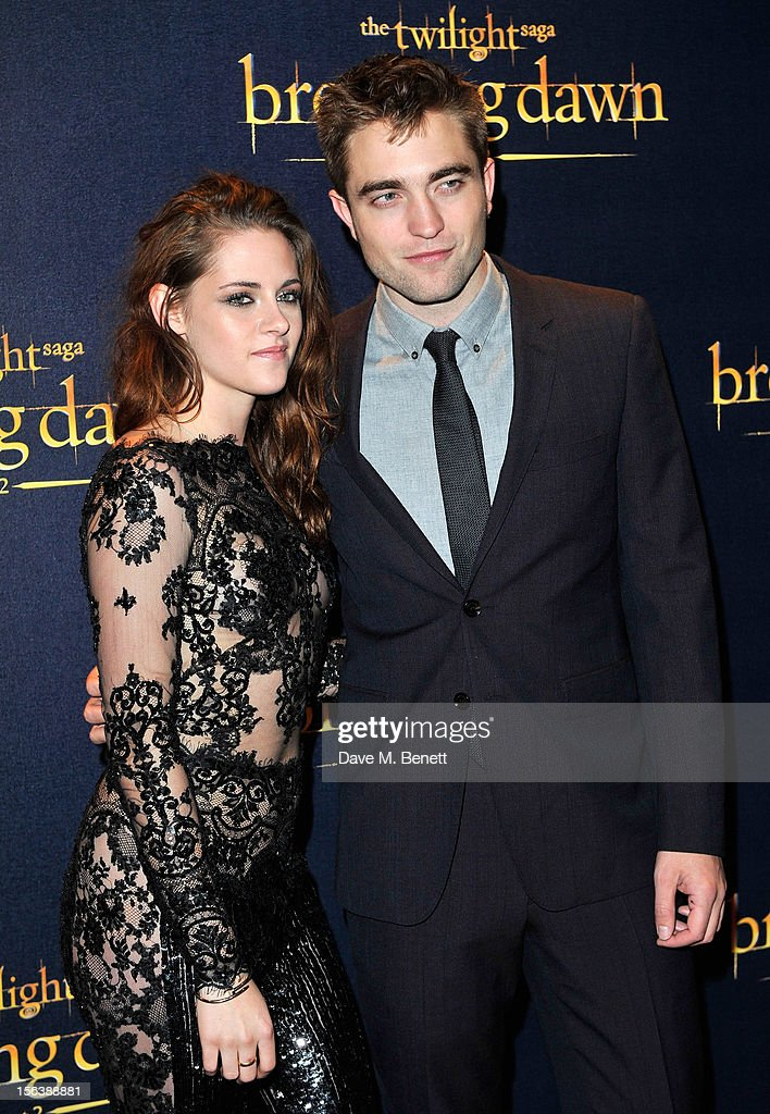 <a gi-track='captionPersonalityLinkClicked' href=/galleries/search?phrase=Kristen+Stewart&family=editorial&specificpeople=2166264 ng-click='$event.stopPropagation()'>Kristen Stewart</a> and <a gi-track='captionPersonalityLinkClicked' href=/galleries/search?phrase=Robert+Pattinson&family=editorial&specificpeople=734445 ng-click='$event.stopPropagation()'>Robert Pattinson</a> attends the UK Premiere of 'The Twilight Saga: Breaking Dawn Part 2' at Odeon Leicester Square on November 14, 2012 in London, England.