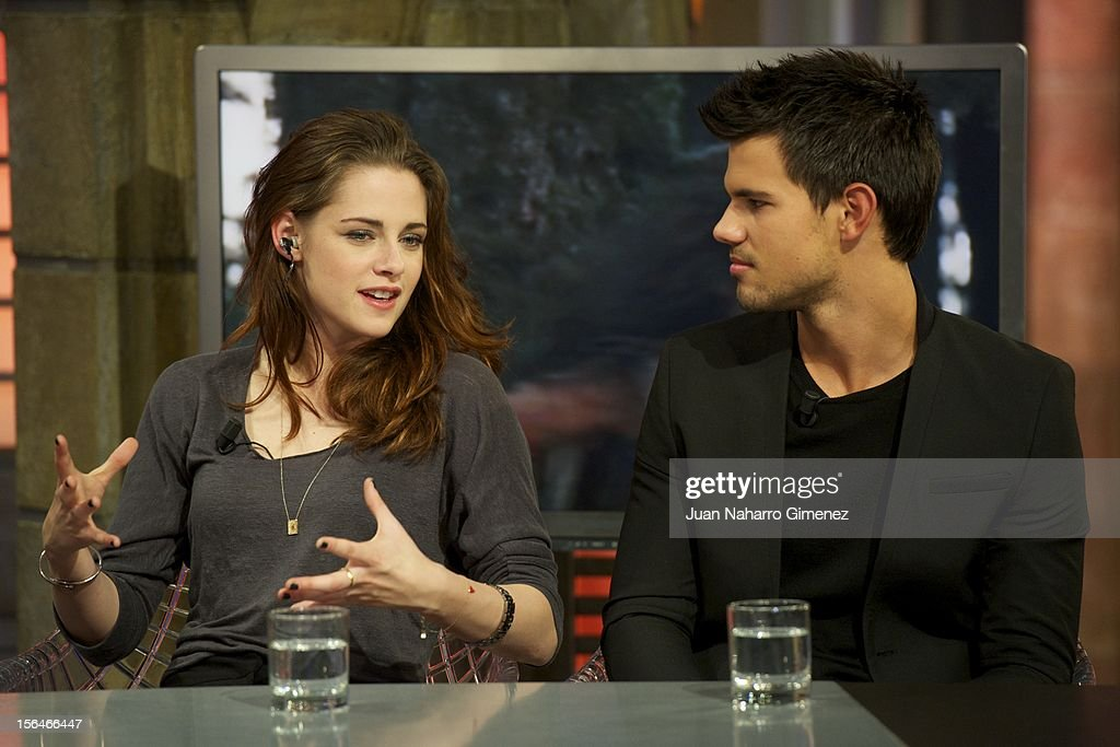 Kristen Stewart and Taylor Lautner attend 'El Hormiguero' Tv show at Vertice Studio on November 15, 2012 in Madrid, Spain.