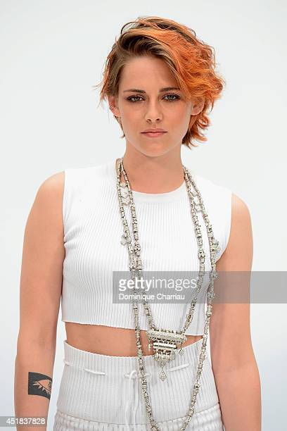 Kristen Stewart attends at Chanel show as part of Paris Fashion Week Haute Couture Fall/Winter 20142015 at Grand Palais on July 8 2014 in Paris France
