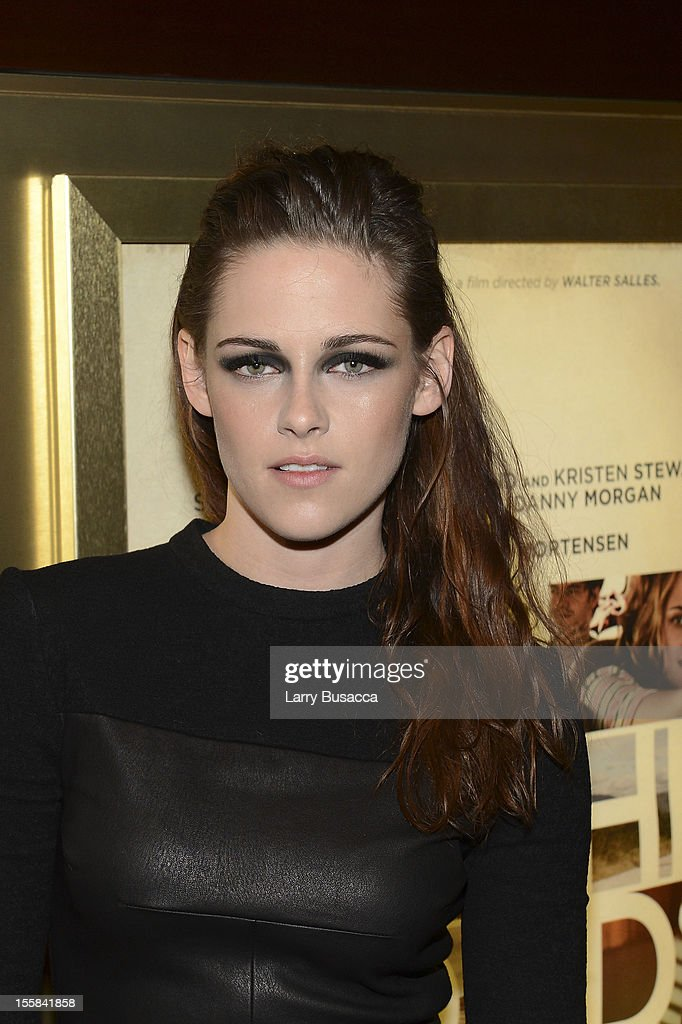 <a gi-track='captionPersonalityLinkClicked' href=/galleries/search?phrase=Kristen+Stewart&family=editorial&specificpeople=2166264 ng-click='$event.stopPropagation()'>Kristen Stewart</a> attends 'On The Road' New York Screening on November 8, 2012 in New York, United States.
