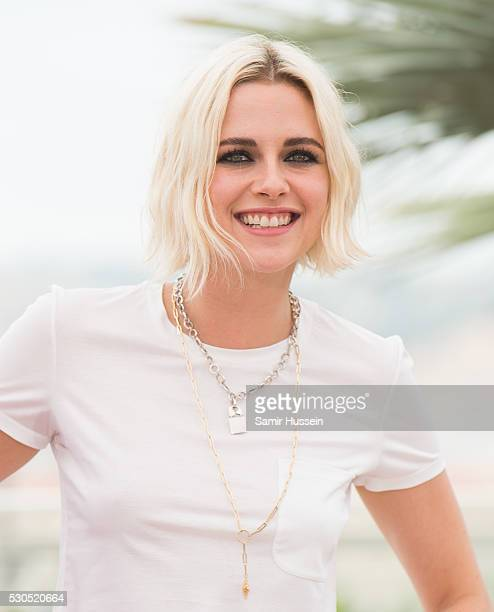 Kristen Stewart attends the 'Cafe Society' photocall during the 69th annual Cannes Film Festival at Palais des Festivals on May 11 2016 in Cannes...