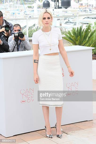 Kristen Stewart attends the 'Cafe Society' photocall which will open the 69th annual Cannes Film Festival on May 11 2016 in Cannes France