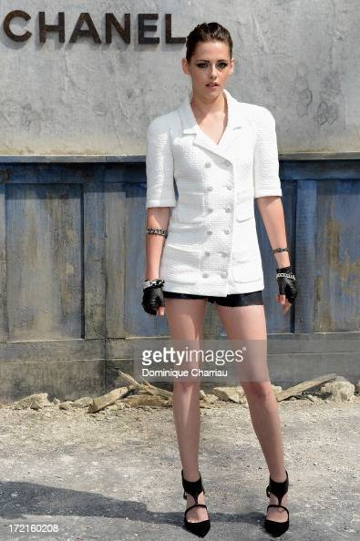 Kristen Stewart attends the Chanel show as part of Paris Fashion Week Haute Couture Fall/Winter 20132014 at Grand Palais on July 2 2013 in Paris...