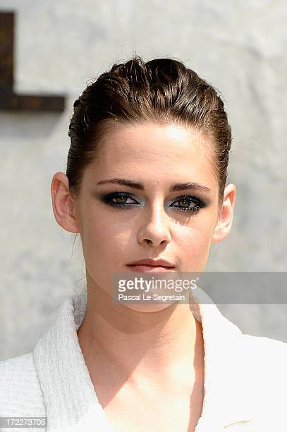 Kristen Stewart attends the Chanel show as part of Paris Fashion Week HauteCouture Fall/Winter 20132014 at Grand Palais on July 2 2013 in Paris France