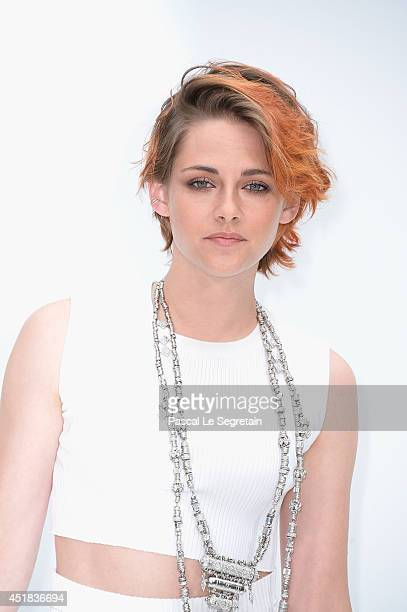 Kristen Stewart attends the Chanel show as part of Paris Fashion Week Haute Couture Fall/Winter 20142015 at Grand Palais on July 8 2014 in Paris...