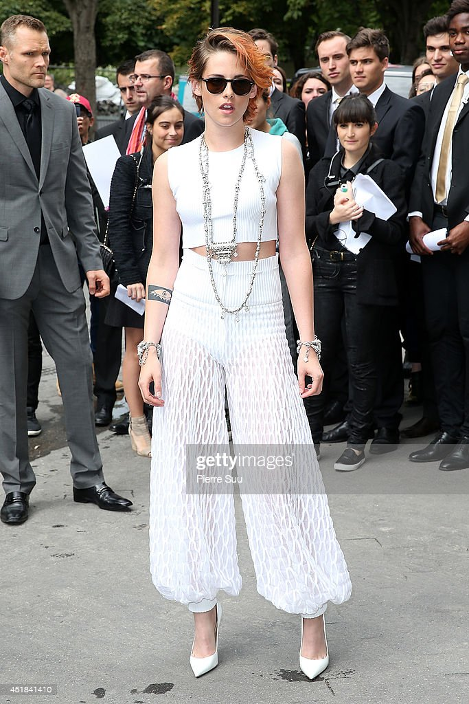 <a gi-track='captionPersonalityLinkClicked' href=/galleries/search?phrase=Kristen+Stewart&family=editorial&specificpeople=2166264 ng-click='$event.stopPropagation()'>Kristen Stewart</a> attends the Chanel show as part of Paris Fashion Week - Haute Couture Fall/Winter 2014-2015 at Grand Palais on July 8, 2014 in Paris, France.