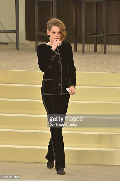 Kristen Stewart attends the Chanel show as part of Paris Fashion Week Haute Couture Fall/Winter 2015/2016 on July 7 2015 in Paris France