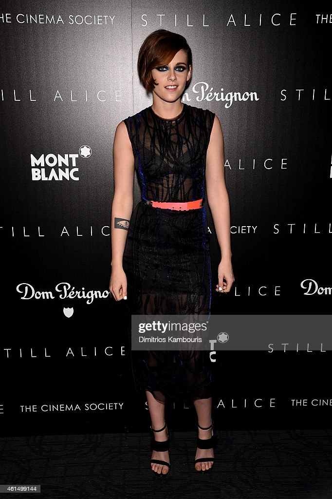 <a gi-track='captionPersonalityLinkClicked' href=/galleries/search?phrase=Kristen+Stewart&family=editorial&specificpeople=2166264 ng-click='$event.stopPropagation()'>Kristen Stewart</a> attends The Cinema Society with Montblanc and Dom Perignon screening of Sony Pictures Classics' 'Still Alice' at Landmark's Sunshine Cinema on January 13, 2015 in New York City.