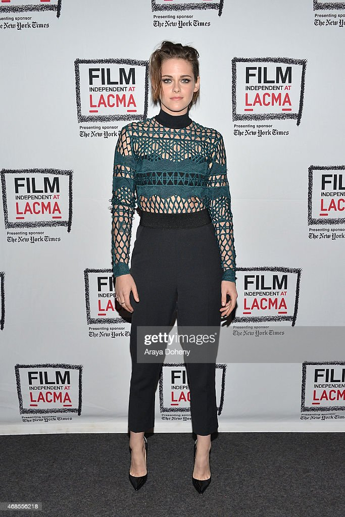 <a gi-track='captionPersonalityLinkClicked' href=/galleries/search?phrase=Kristen+Stewart&family=editorial&specificpeople=2166264 ng-click='$event.stopPropagation()'>Kristen Stewart</a> attends the Film Independent at LACMA screening and Q&A of 'Clouds Of Sils Maria' at Bing Theatre At LACMA on April 3, 2015 in Los Angeles, California.