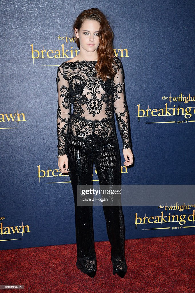 <a gi-track='captionPersonalityLinkClicked' href=/galleries/search?phrase=Kristen+Stewart&family=editorial&specificpeople=2166264 ng-click='$event.stopPropagation()'>Kristen Stewart</a> attends the UK Premiere of 'The Twilight Saga: Breaking Dawn - Part 2' at Odeon Leicester Square on November 14, 2012 in London, England.