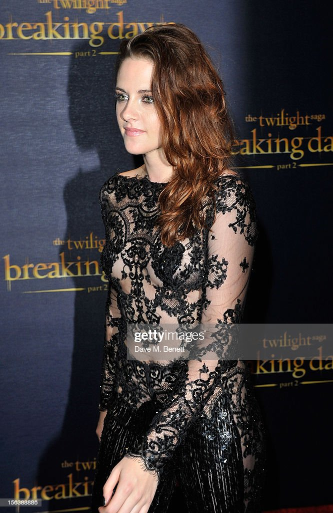 <a gi-track='captionPersonalityLinkClicked' href=/galleries/search?phrase=Kristen+Stewart&family=editorial&specificpeople=2166264 ng-click='$event.stopPropagation()'>Kristen Stewart</a> attends the UK Premiere of 'The Twilight Saga: Breaking Dawn Part 2' at Odeon Leicester Square on November 14, 2012 in London, England.