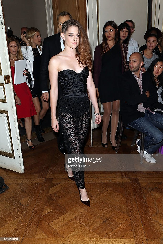 <a gi-track='captionPersonalityLinkClicked' href=/galleries/search?phrase=Kristen+Stewart&family=editorial&specificpeople=2166264 ng-click='$event.stopPropagation()'>Kristen Stewart</a> attends the Zuhair Murad show as part of Paris Fashion Week Haute-Couture Fall/Winter 2013-2014 at Hotel de Montmorency on July 4, 2013 in Paris, France.
