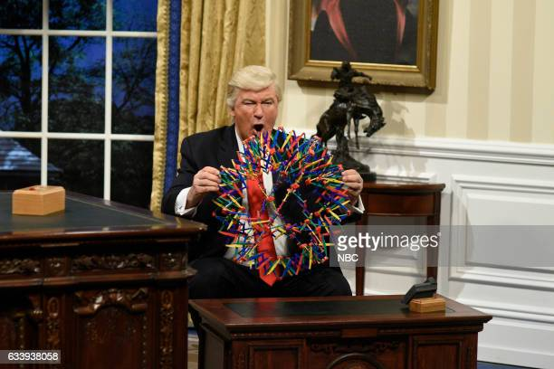 LIVE 'Kristen Stewart' Episode 1717 Pictured Alec Baldwin as President Donald J Trump during the Oval Office Cold Open on February 4th 2017