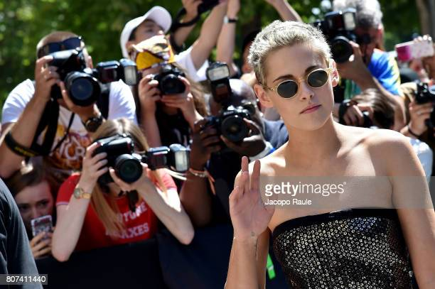 Kristen Stewart is seen arriving at the 'Chanel' show during Paris Fashion Week Haute Couture Fall/Winter 20172018 on July 4 2017 in Paris France