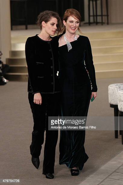 Kristen Stewart Julianne Moore attend the Chanel show as part of Paris Fashion Week Haute Couture Fall/Winter 2015/2016 on July 7 2015 in Paris France