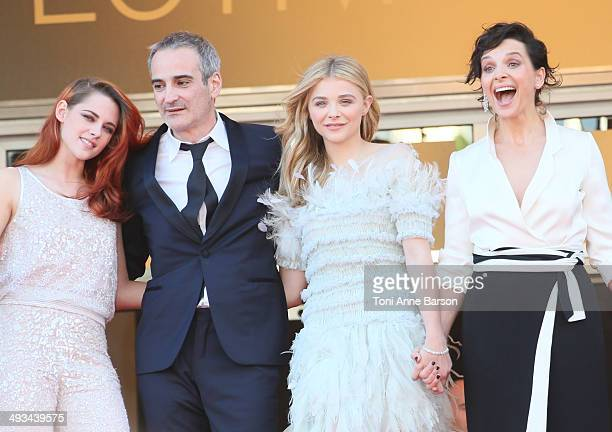 Kristen Stewart Juliette Binoche Chloe Grace Moretz and director Olivier Assayas attend the 'Clouds Of Sils Maria' premiere at the 67th Annual Cannes...
