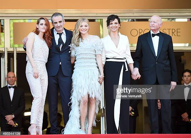 Kristen Stewart Juliette Binoche Chloe Grace Moretz director Olivier Assayas and Gilles Jacob attend the 'Clouds Of Sils Maria' Premiere during the...