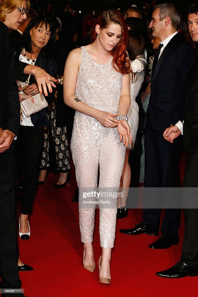 <a gi-track='captionPersonalityLinkClicked' href=/galleries/search?phrase=Kristen+Stewart&family=editorial&specificpeople=2166264 ng-click='$event.stopPropagation()'>Kristen Stewart</a> leaves the 'Clouds Of Sils Maria' premiere during the 67th Annual Cannes Film Festival on May 23, 2014 in Cannes, France.