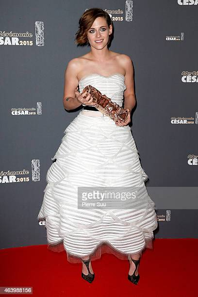 Kristen Stewart poses in the Award Room after she received the award for Best Actress in a Supporting Role in 'Sils Maria' during the 40th Cesar Film...