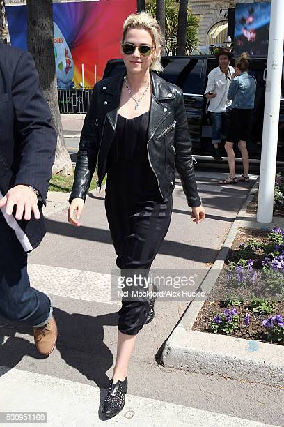 Kristen Stewart seen arriving at Nikki Beach for press junket for Cafe Society on May 12 2016 in Cannes France