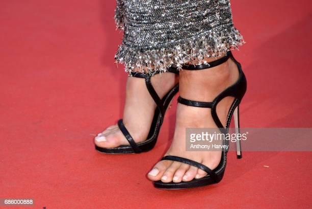 Kristen Stewart shoe detail attends the '120 Battements Par Minutes ' screening during the 70th annual Cannes Film Festival at Palais des Festivals...