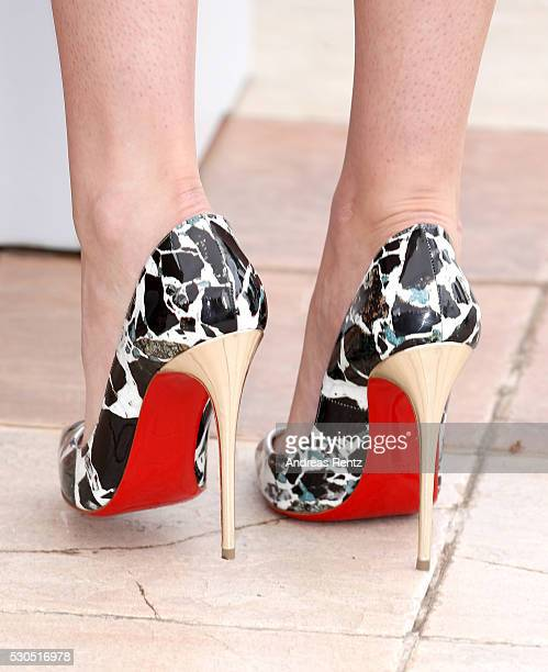 Kristen Stewart shoe detail attends the 'Cafe Society' Photocall during The 69th Annual Cannes Film Festival on May 11 2016 in Cannes France