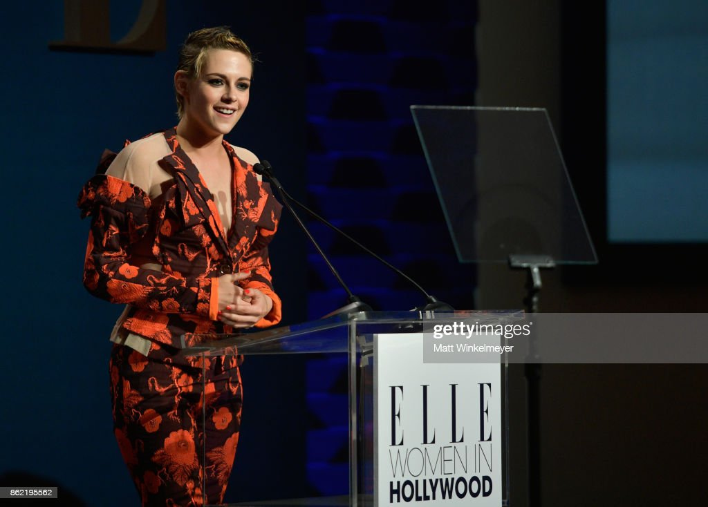 Kristen Stewart speaks onstage at ELLE's 24th Annual Women in Hollywood Celebration presented by L'Oreal Paris, Real Is Rare, Real Is A Diamond and CALVIN KLEIN at Four Seasons Hotel Los Angeles at Beverly Hills on October 16, 2017 in Los Angeles, California.
