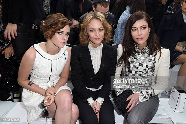 Kristen Stewart Vanessa Paradis and Elodie Bouchez attend the Chanel show as part of Paris Fashion Week Haute Couture Spring/Summer 2015 on January...