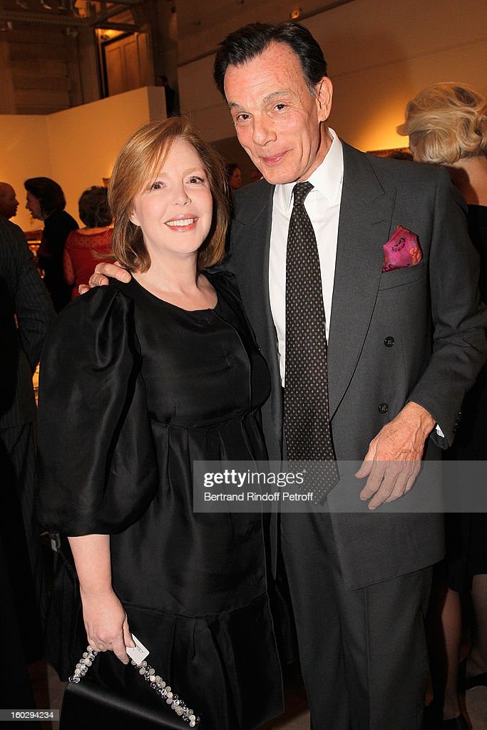 Kristen van Riel (R) and Cecile David-Weill attend a dinner in honor of Helene David-Weill, who presided through 1994 - 2012 Les Arts Decoratifs, one of the largest decorative arts museums in the world, at Sotheby's on January 28, 2013 in Paris, France.