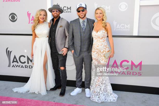 Kristen White musicians Preston Brust and Chris Lucas of music group LOCASH and Kaitlyn Lucas arrive at the 52nd Academy Of Country Music Awards on...