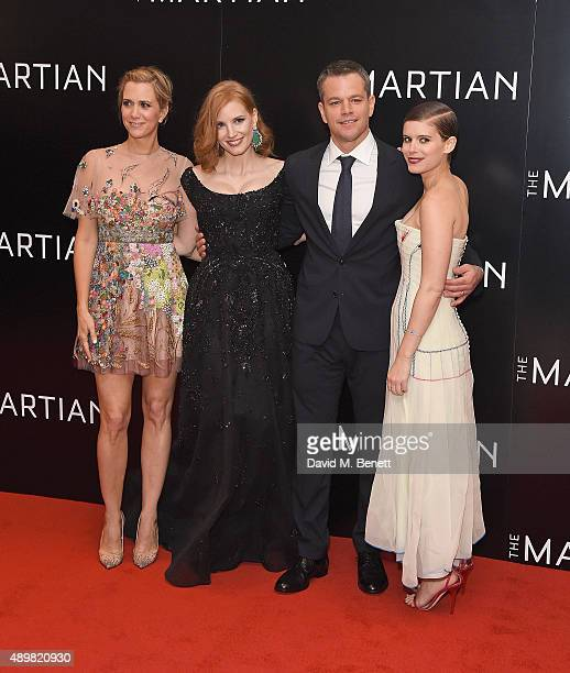 Kristen Wigg Jessica Chastain Matt Damon and Kate Mara attend the European premiere of 'The Martian' at Odeon Leicester Square on September 24 2015...