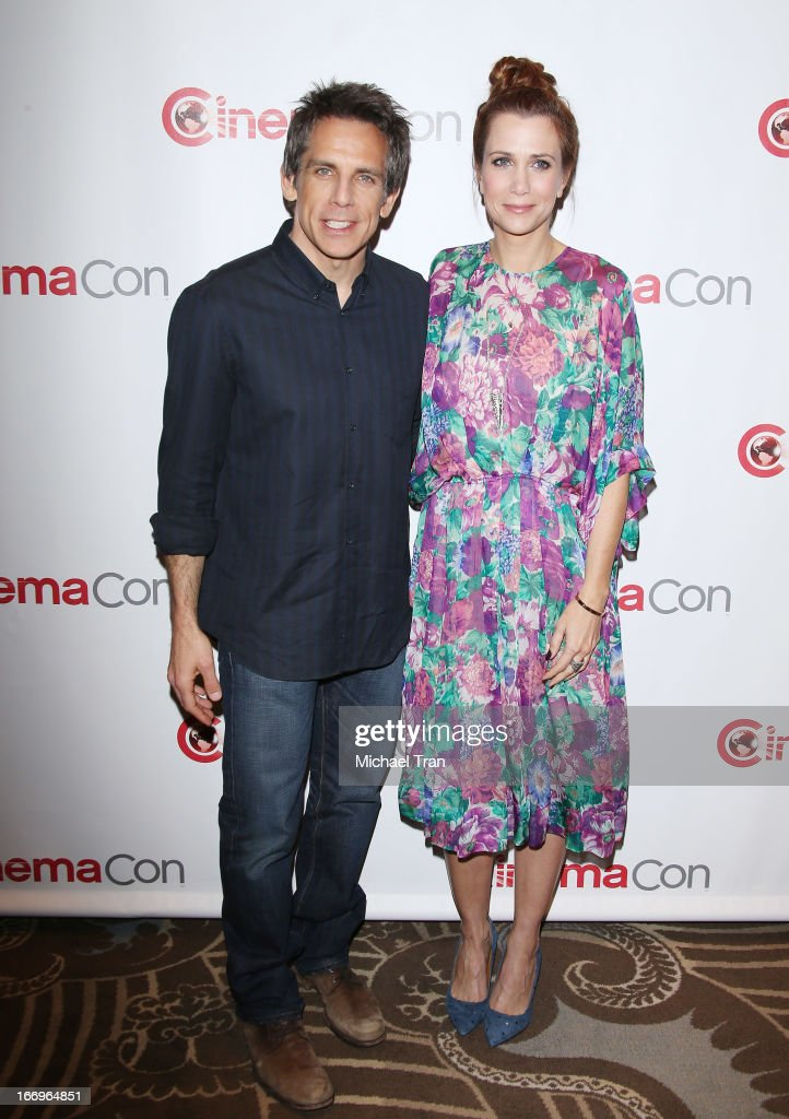 <a gi-track='captionPersonalityLinkClicked' href=/galleries/search?phrase=Kristen+Wiig&family=editorial&specificpeople=4029391 ng-click='$event.stopPropagation()'>Kristen Wiig</a> (L) and <a gi-track='captionPersonalityLinkClicked' href=/galleries/search?phrase=Ben+Stiller&family=editorial&specificpeople=201806 ng-click='$event.stopPropagation()'>Ben Stiller</a> arrive at a Twentieth Century Fox presentation to promote the upcoming film 'The Secret Life of Walter Mitty' at Caesars Palace during CinemaCon, the official convention of the National Association of Theatre Owners on April 18, 2013 in Las Vegas, Nevada.