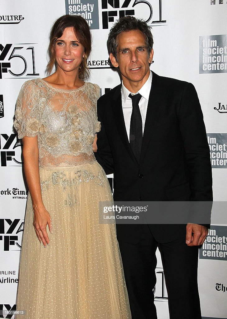 <a gi-track='captionPersonalityLinkClicked' href=/galleries/search?phrase=Kristen+Wiig&family=editorial&specificpeople=4029391 ng-click='$event.stopPropagation()'>Kristen Wiig</a> and <a gi-track='captionPersonalityLinkClicked' href=/galleries/search?phrase=Ben+Stiller&family=editorial&specificpeople=201806 ng-click='$event.stopPropagation()'>Ben Stiller</a> attend the Centerpiece Gala Presentation Of 'The Secret Life Of Walter Mitty' during the 51st New York Film Festival at Alice Tully Hall at Lincoln Center on October 5, 2013 in New York City.