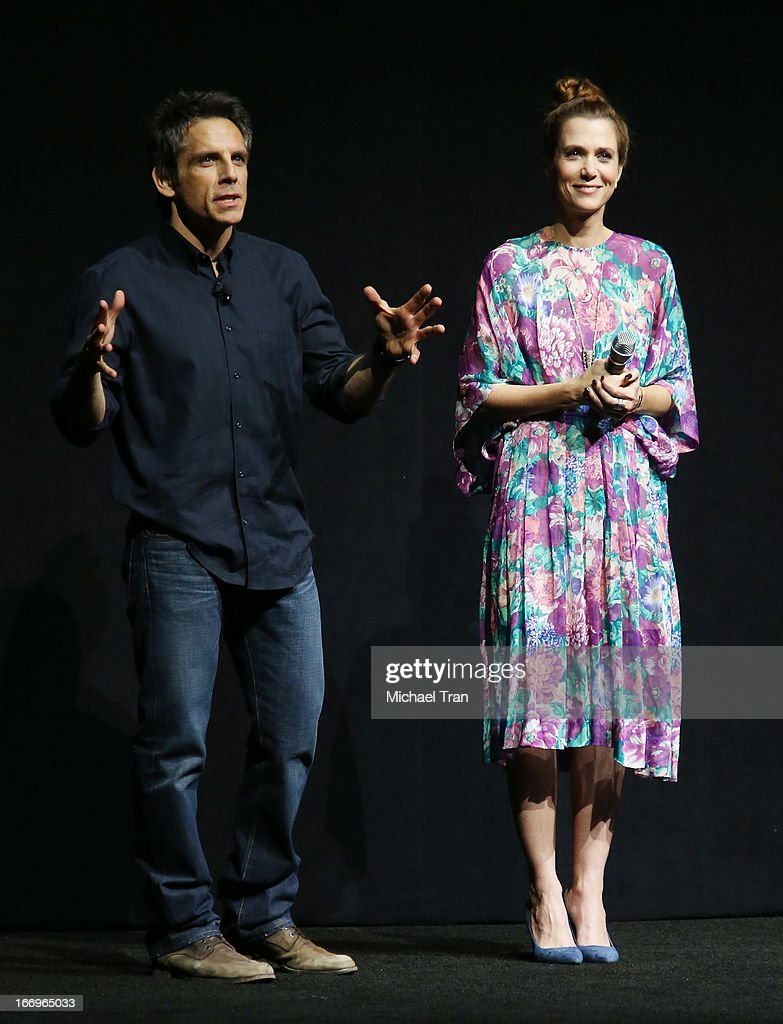 <a gi-track='captionPersonalityLinkClicked' href=/galleries/search?phrase=Kristen+Wiig&family=editorial&specificpeople=4029391 ng-click='$event.stopPropagation()'>Kristen Wiig</a> (R) and <a gi-track='captionPersonalityLinkClicked' href=/galleries/search?phrase=Ben+Stiller&family=editorial&specificpeople=201806 ng-click='$event.stopPropagation()'>Ben Stiller</a> speak at a Twentieth Century Fox presentation to promote the upcoming film 'The Secret Life of Walter Mitty' at Caesars Palace during CinemaCon, the official convention of the National Association of Theatre Owners on April 18, 2013 in Las Vegas, Nevada.