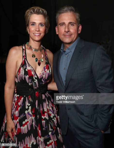 Kristen Wiig and Steve Carell attend the Premiere Of Universal Pictures And Illumination Entertainment's 'Despicable Me 3' at The Shrine Auditorium...