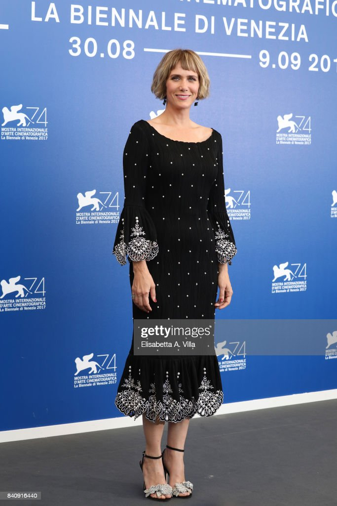 Kristen Wiig attends the official Press Conference and photo call for 'Downsizing' during the 74th Venice Film Festival at Sala Casino on August 30, 2017 in Venice, Italy.