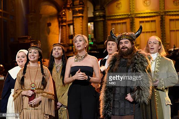 LIVE 'Kristen Wiig' Episode 1711 Pictured Aidy Bryant as a pilgrim Melissa Villaseñor as Sacagawea Kyle Mooney as a Native American Kristen Wiig Alex...