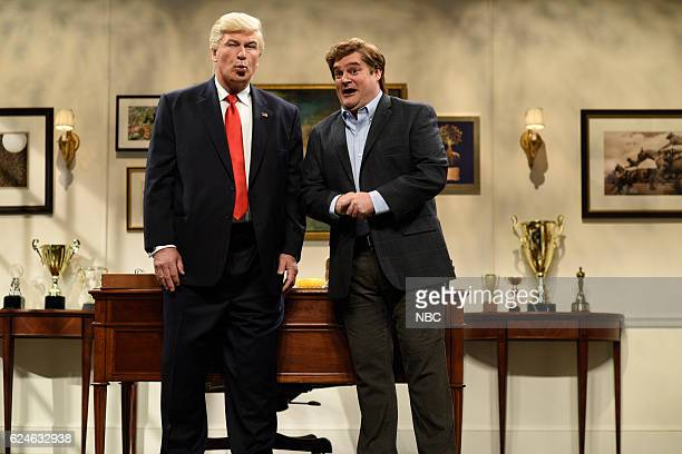 LIVE 'Kristen Wiig' Episode 1711 Pictured Alec Baldwin as Donald Trump and Bobby Moynihan as Peter Chocksell during the 'Donald Trump Prepares Cold...