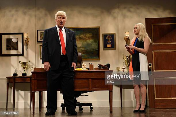 LIVE 'Kristen Wiig' Episode 1711 Pictured Alec Baldwin as Donald Trump and Kate McKinnon as Kellyanne Conway during the 'Donald Trump Prepares Cold...