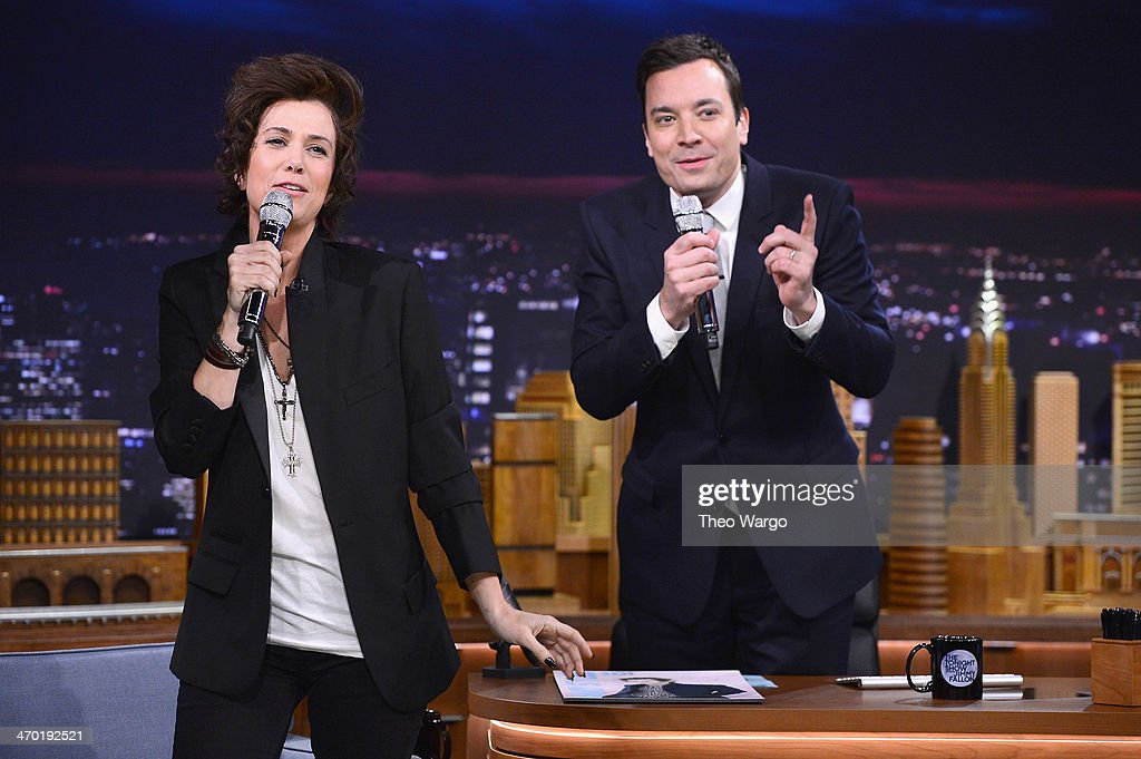 Kristen Wiig impersonates Harry Styles during a taping of 'The Tonight Show Starring Jimmy Fallon' at Rockefeller Center on February 18, 2014 in New York City.