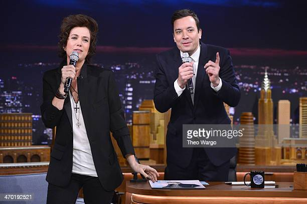 Kristen Wiig impersonates Harry Styles during a taping of 'The Tonight Show Starring Jimmy Fallon' at Rockefeller Center on February 18 2014 in New...