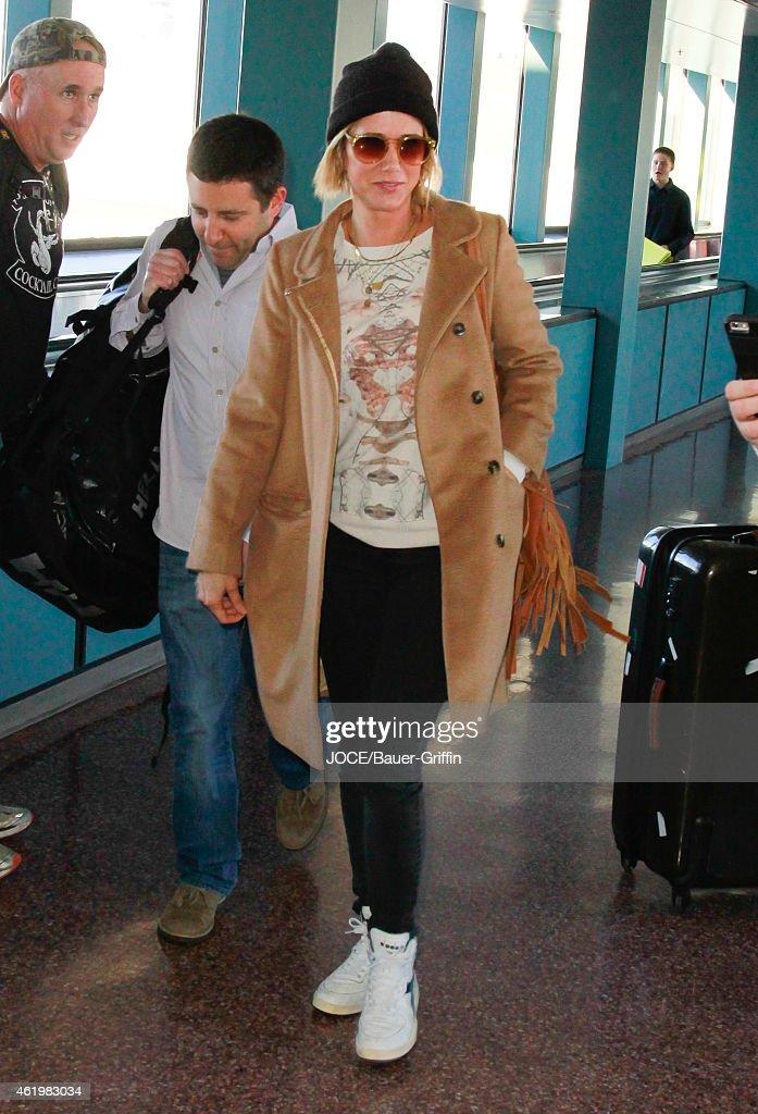 Kristen Wiig is seen at Salt Lake City Airport on January 22 2015 in Park City Utah