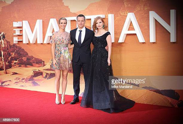 Kristen Wiig Matt Damon and Jessica Chastain attend the European premiere of 'The Martian' at Odeon Leicester Square on September 24 2015 in London...