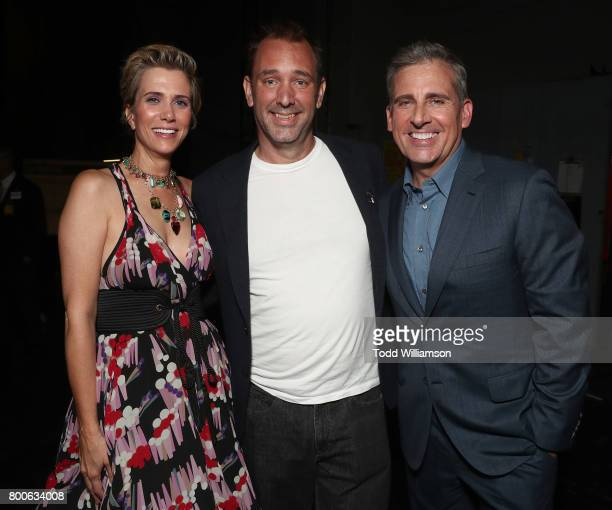 Kristen Wiig Trey Parker and Steve Carell attend the Premiere Of Universal Pictures And Illumination Entertainment's 'Despicable Me 3' at The Shrine...
