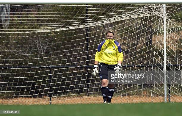Kristi Harvey of Adelaide reacts after missing a save to allow a second goal to Western Sydney during the round one WLeague match between Adelaide...