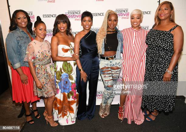 Kristi Henderson Jada Pinkett Smith Niecy Nash Tamron Hall Mary J Blige Monica and Queen Latifah pose backstage at the 2017 ESSENCE Festival...