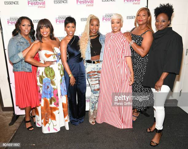 Kristi Henderson Niecy Nash Tamron Hall Mary J Blige Monica Queen Latifah and Dee Rees pose backstage at the 2017 ESSENCE Festival presented by...