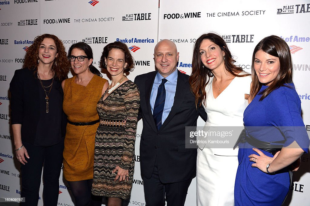 Kristi Jacobson, Christina Grdovic, Dana Cowin, <a gi-track='captionPersonalityLinkClicked' href=/galleries/search?phrase=Tom+Colicchio&family=editorial&specificpeople=4167072 ng-click='$event.stopPropagation()'>Tom Colicchio</a>, <a gi-track='captionPersonalityLinkClicked' href=/galleries/search?phrase=Lori+Silverbush&family=editorial&specificpeople=772818 ng-click='$event.stopPropagation()'>Lori Silverbush</a> and <a gi-track='captionPersonalityLinkClicked' href=/galleries/search?phrase=Gail+Simmons&family=editorial&specificpeople=4337508 ng-click='$event.stopPropagation()'>Gail Simmons</a> attend the Bank of America and Food & Wine with The Cinema Society screening of 'A Place at the Table' at Museum of Modern Art on February 27, 2013 in New York City.