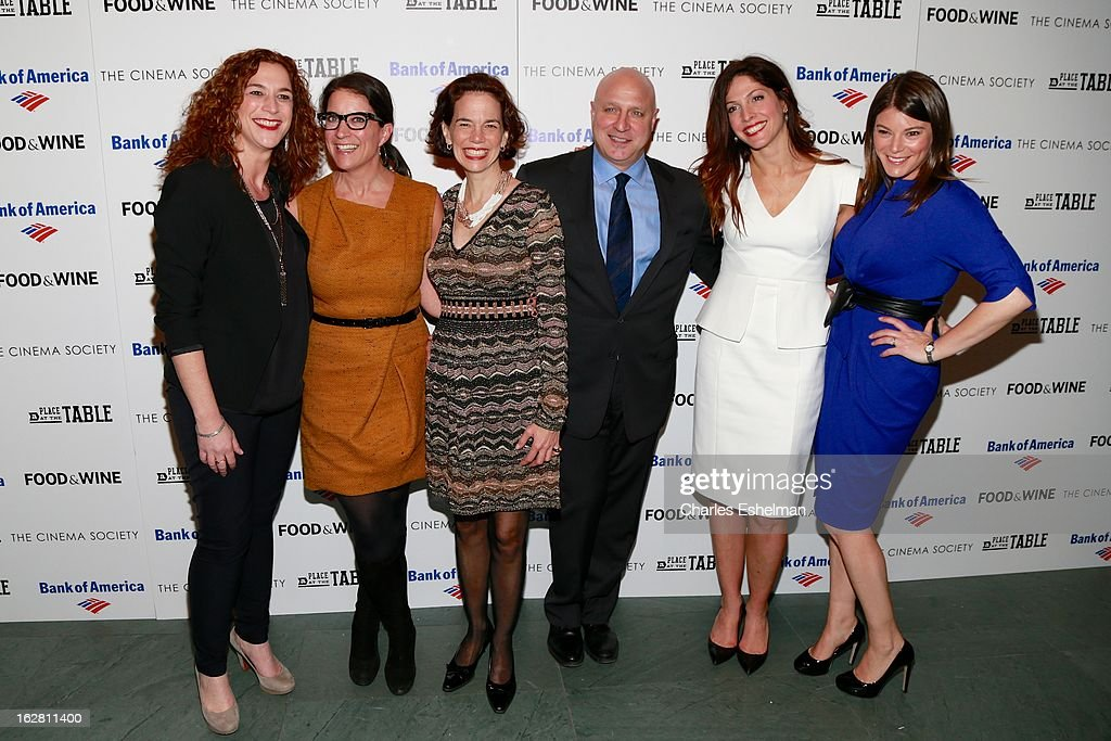 Kristi Jacobson, Christina Grdovic, Dana Cowin, Tom Colicchio, Lori Silverbush and Gail Simmons arrive at Bank of America and Food & Wine with The Cinema Society present a screening of 'A Place at the Table' at the Celeste Bartos Theater at the Museum of Modern Art on February 27, 2013 in New York City.